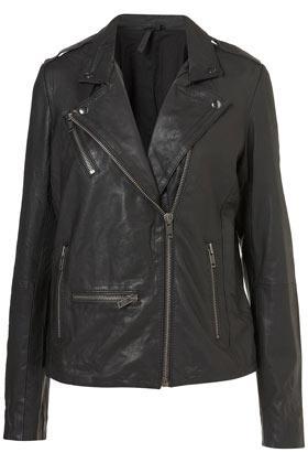 Topshop  Longline Leather Biker Jacket