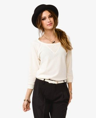 Forever 21  lace paneled pullover