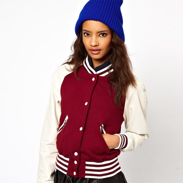 ASOS  Varsity Jacket with Leather Sleeves
