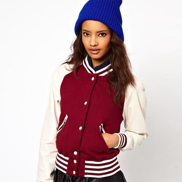 ASOS  Varsity Jacket with Leather Sleeves