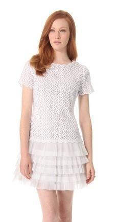 RED Valentino  Full Daisy Organza Drop Waist Dress