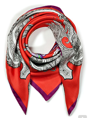 Etro Hot Coral-Multi Paisley Print Silk Scarf