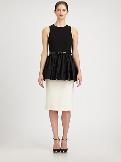Michael Kors Satin-Peplum Crepe Dress