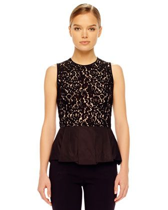 Michael Kors Lace Peplum Top