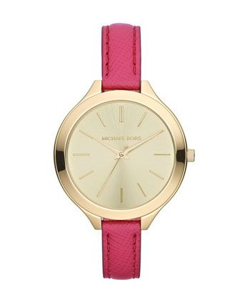 Michael Kors Mid-Size Pink Leather Runway Three-Hand Watch