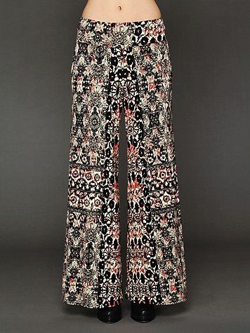 Free People  Printed Knit Wideleg Pants