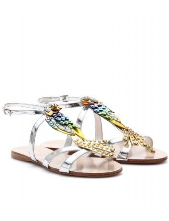 Miu Miu Metallic Leather Embellished Sandals