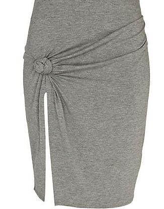Rihanna for River Island Grey Rihanna Knot Front Thigh Split Skirt