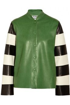 Acne Valentine Striped-Sleeve Leather Jacket