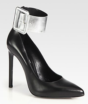 Saint Laurent Paris Leather Ankle Strap Pumps