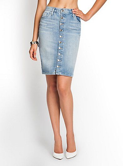 Guess Brittney Button-Front Denim Pencil Skirt