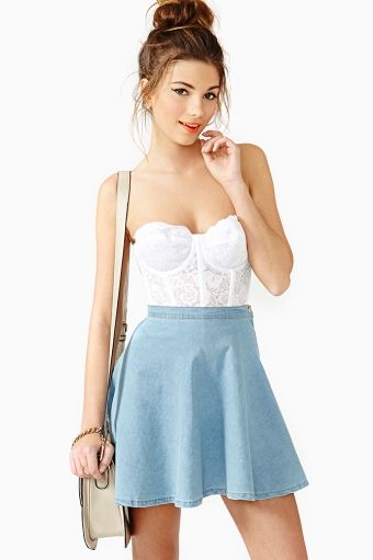 Nasty Gal Heather Chambray Skater Skirt