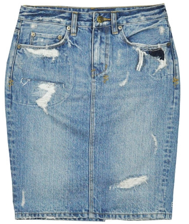 Ksubi Straight Up Trashed Hi Rise Denim Skirt