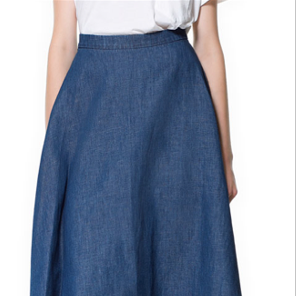 Zara Denim Midi Skirt