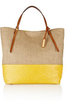 Michael Kors  Gia Large Leather-Trimmed Woven Straw Shopper