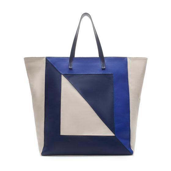 Zara  Shopper Bag with Three Shades of Blue