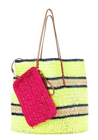 LOFT  Colorblocked Straw Beach Tote
