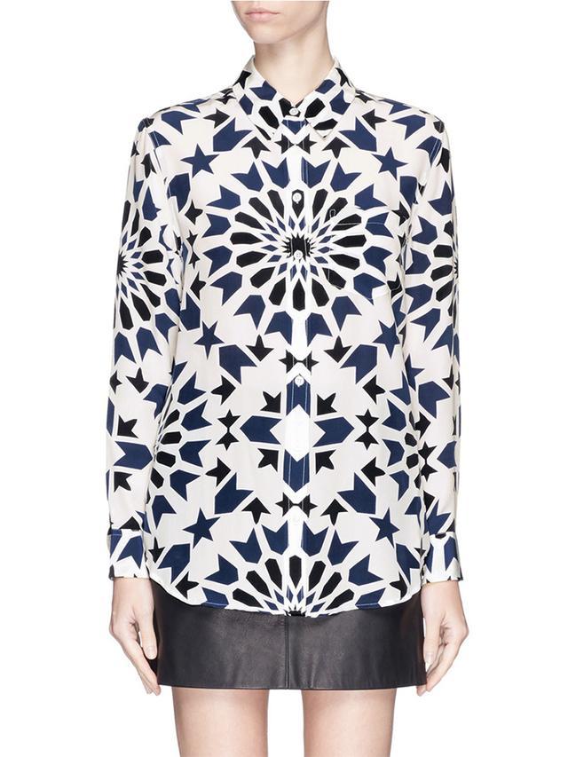 Equipment Reese Abstract Mosaic Print Silk Shirt