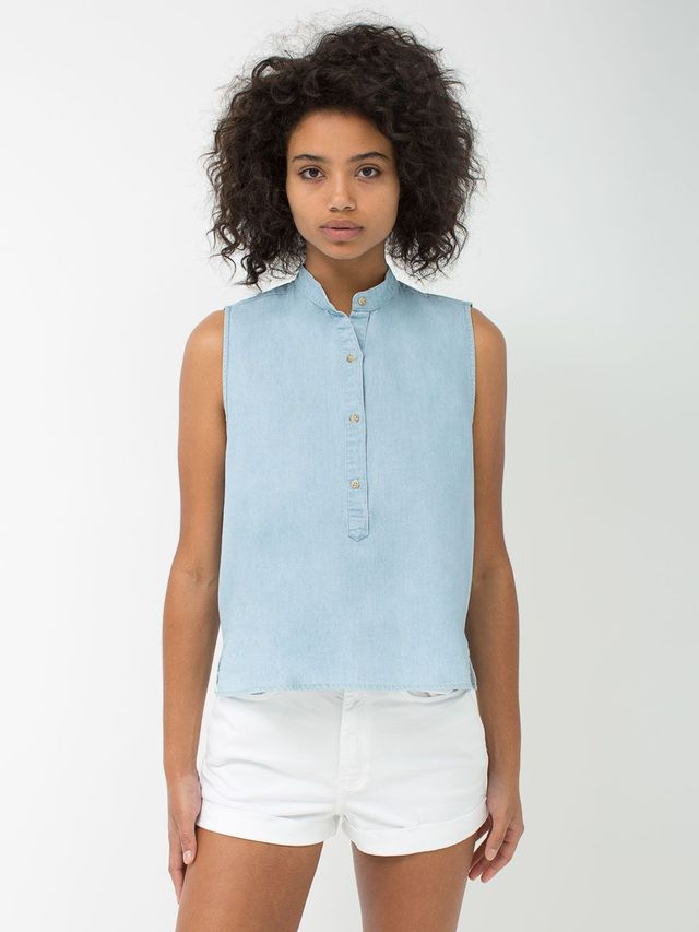 American Apparel Sleeveless Mandarin Collar Shirt