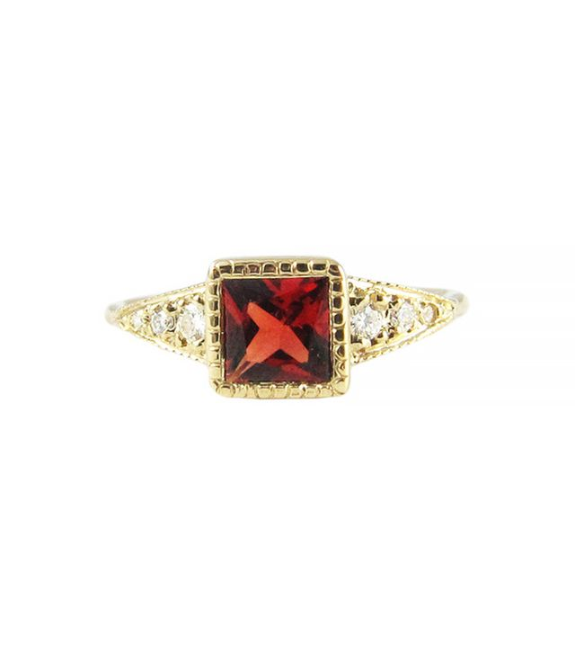 Jennie Kwon Garnet Deco Point Ring