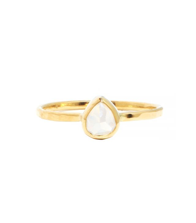 Melissa Joy Manning 1 Carat Grey and Clear Teardrop Diamond Ring
