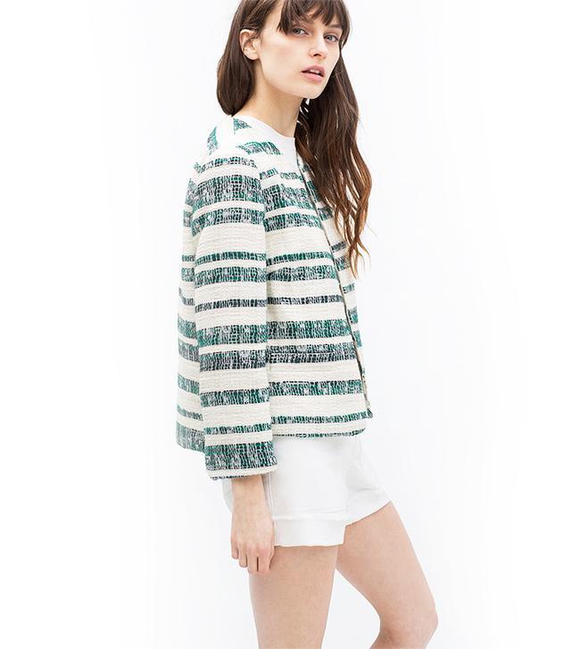 Zara Zipped Striped Blazer