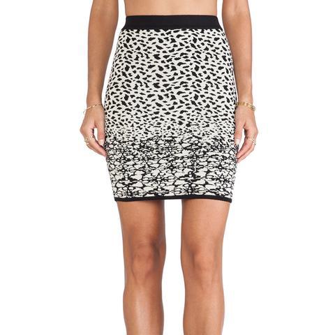 Izella Snow Leopard Jacquard Skirt
