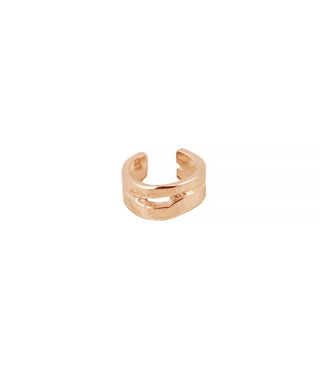 Androgyny 14k Rose Gold Fractured Earth Ear Cuff Dainty