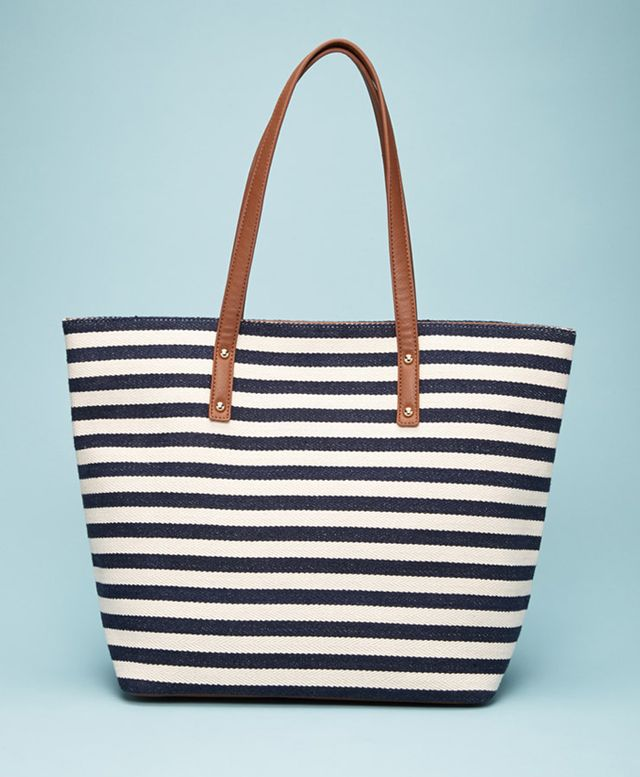 Forever 21 Striped Faux Leather-Trimmed Tote
