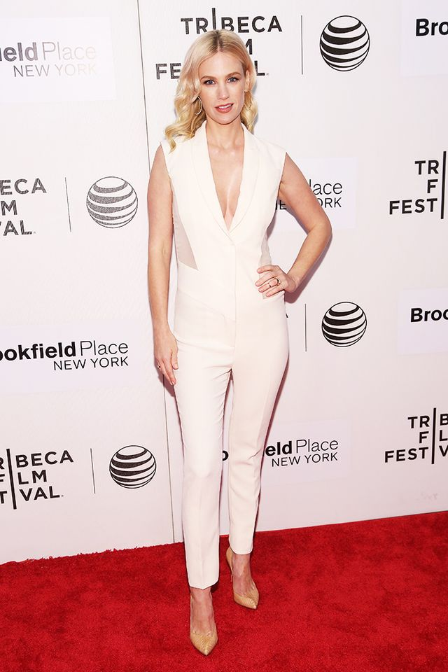 On Jones: Prabal Gurung jumpsuit; Anita Ko Diamond Circle Hoop Earrings ($7875); Christian Louboutin pumps.