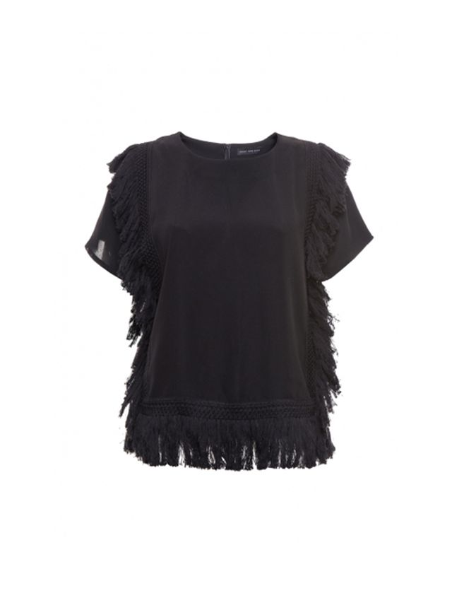 Front Row Shop Fringed Black Top