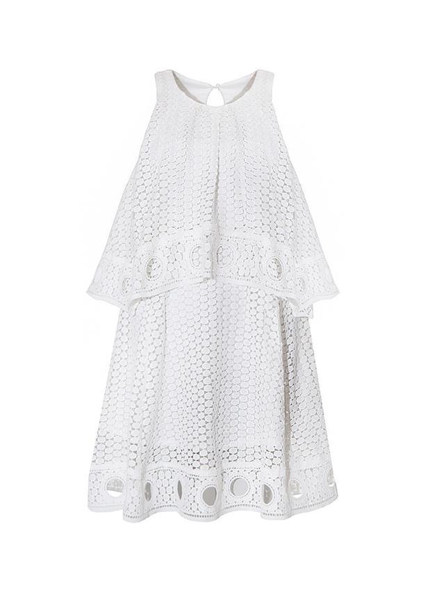 Pixie Market White Ring Hem Eyelet Dress