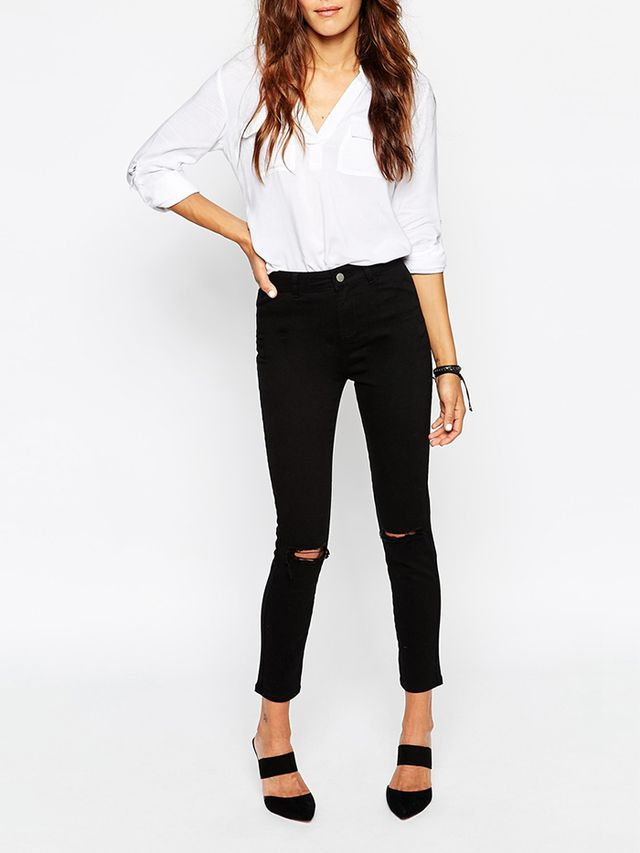 ASOS Ankle Grazer Skinny Twill Pants with Ripped Knees