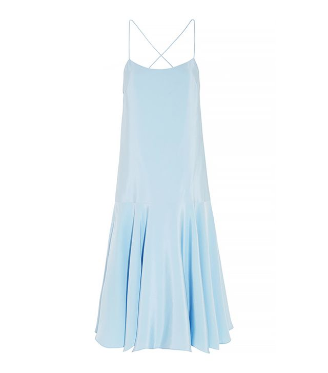 Tibi Asymmetric Silk-Satin Dress