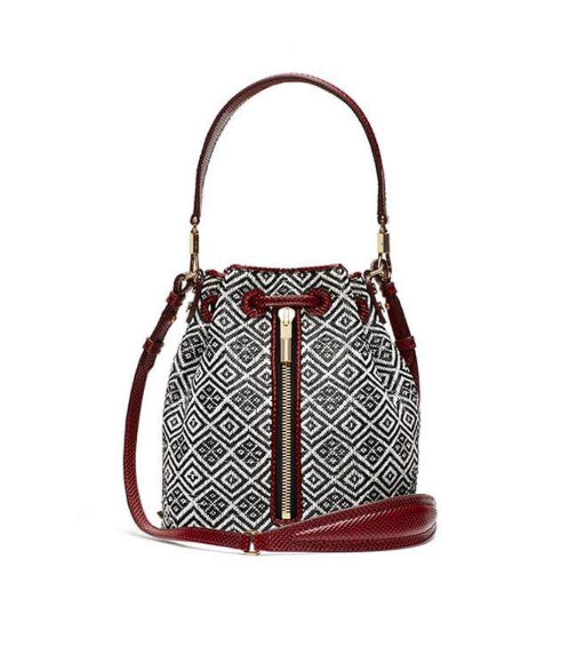 Elizabeth and James Basketweave Mini Bucket Bag