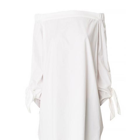 Satin Poplin Off-the-Shoulder Tunic, White
