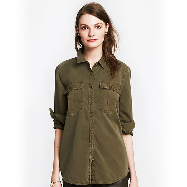 Banana Republic Soft-Wash Utility Boyfriend Shirt, Seaweed