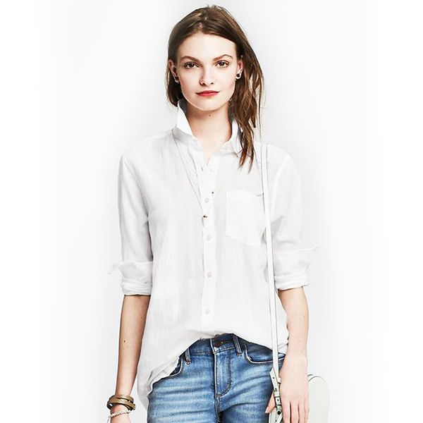 Banana Republic Soft-Wash Textured Voile Boyfriend Shirt
