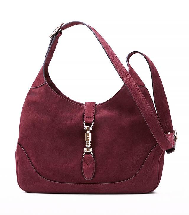 Gucci Jackie Burgundy Suede Shoulder Bag