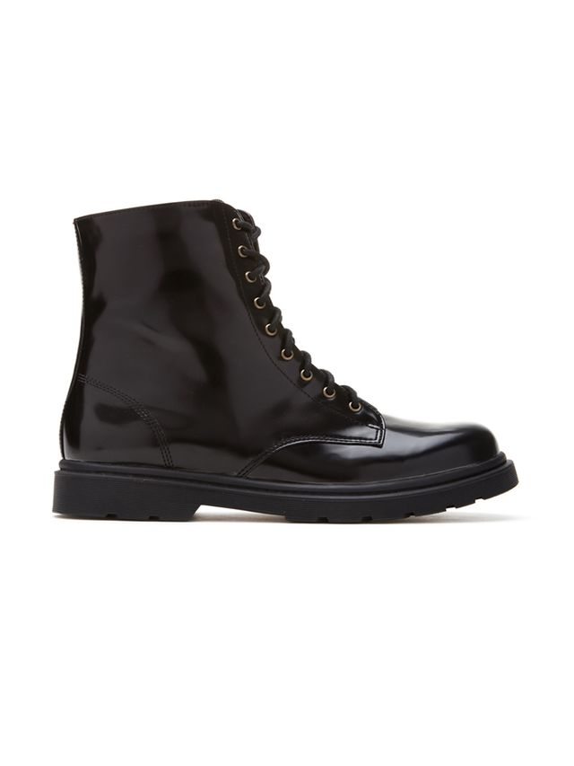 Forever 21 Faux Patent Leather Combat Boots
