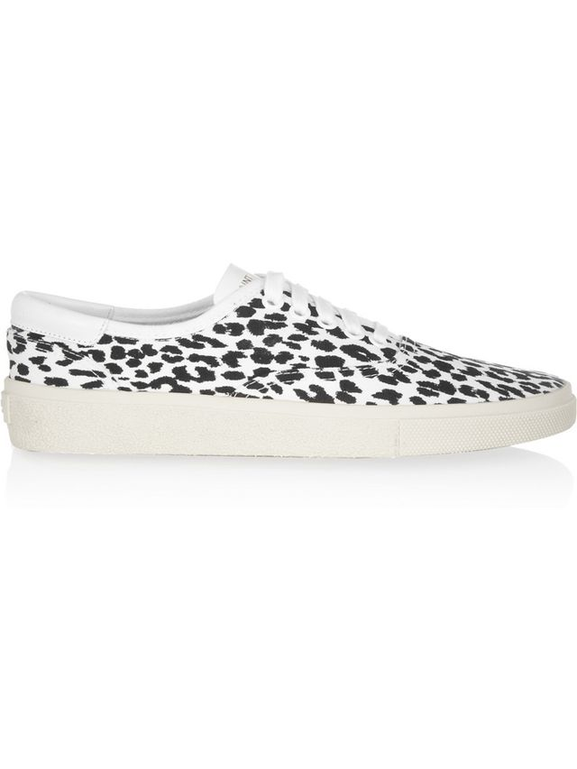 Saint Laurent Leopard-Print Canvas Sneakers
