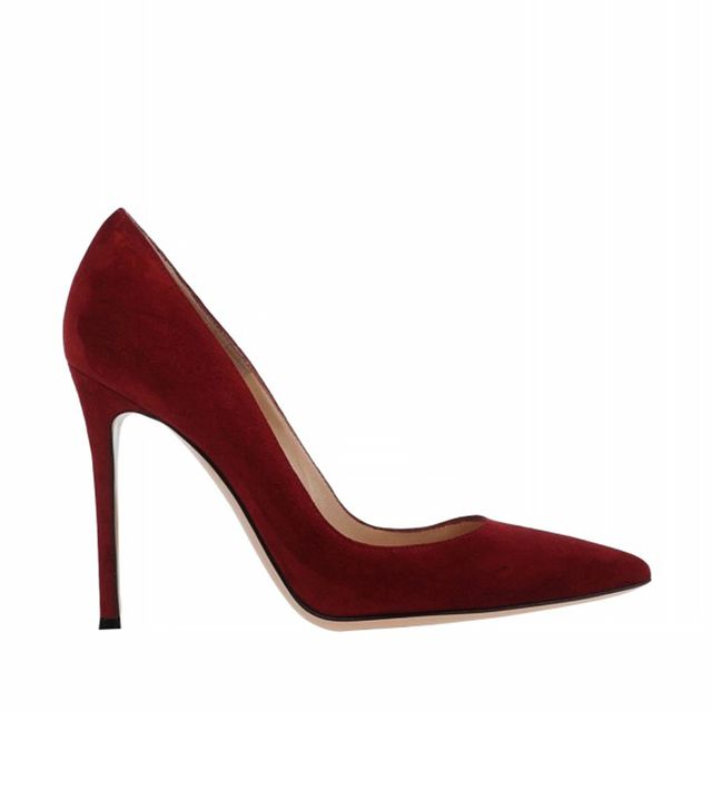 Gianvito Rossi Burgundy Suede Pointed-Toe Pump