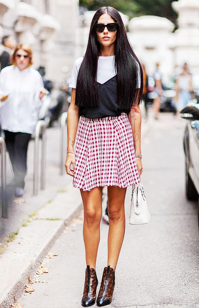 A white tee-and-miniskirt combo is fresh and flirty.
