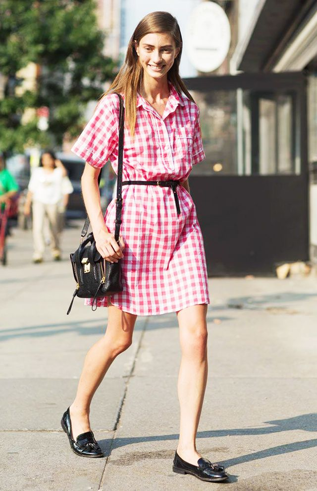 Opt for a classic shirtdress silhouette to show off the summer print.