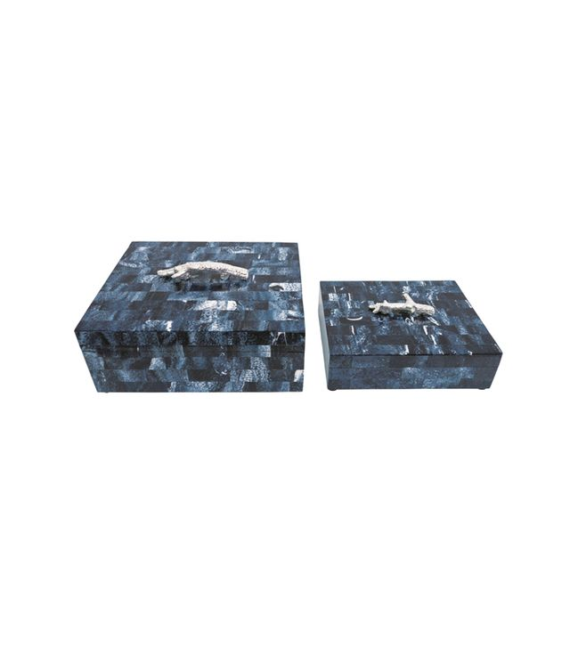 Burke Decor Malibu Blue Lapis Rectangular Boxes Design By Couture Lamps