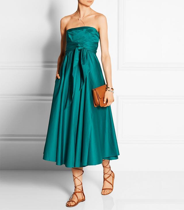 Tibi Satin Strapless Satin-Poplin Midi Dress