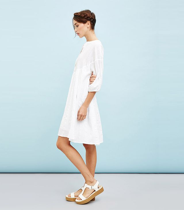 Whitepepper Textured Smock Dress