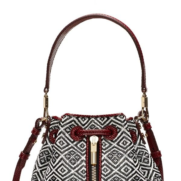 Elizabeth and James Cynnie Mini Basket Woven Bucket Bag