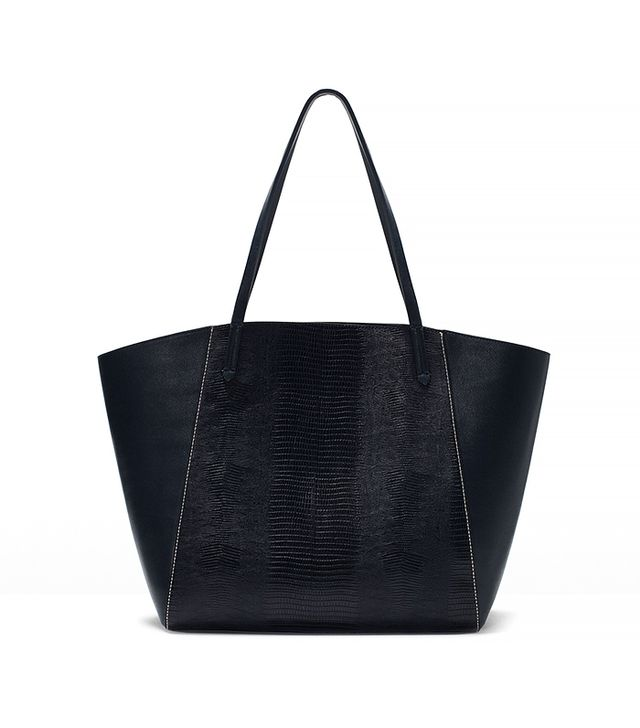 Zara Combined Shopper Bag in Navy Blue
