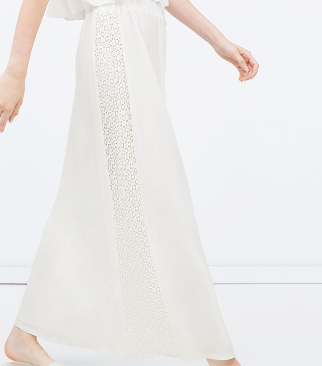 Zara Long Combined Guipure Lace Skirt